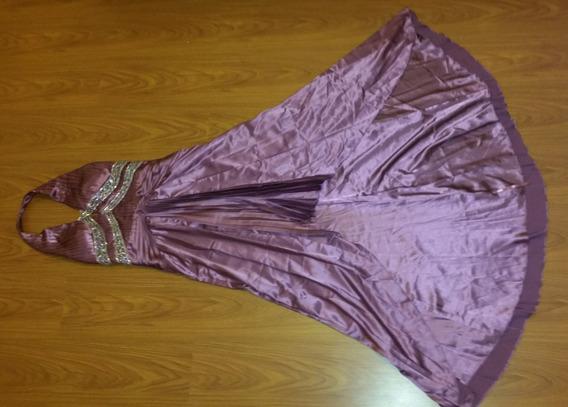 Vestido De Fiesta Alta Costura Con Piedras Bordadas A Mano