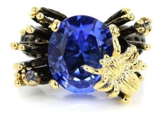 Anel Feminino Folheado A Ródio Negro, C/safira Azul Natural
