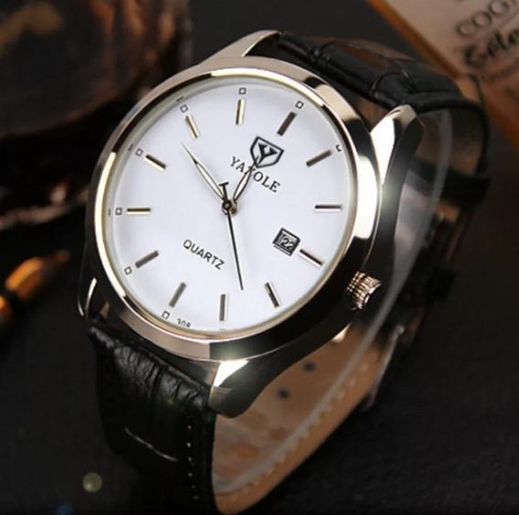 Relógio Masculino Analogico Luxo Couro Yazole 308