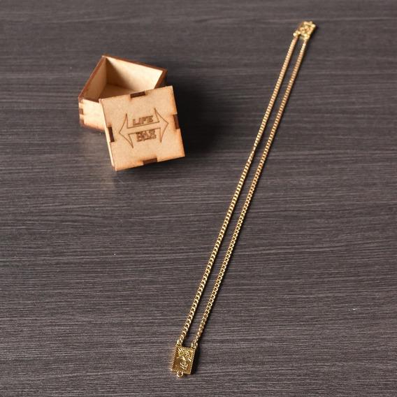 Cordão Masculino Escapulário Banhada A Ouro Corrente 60cm