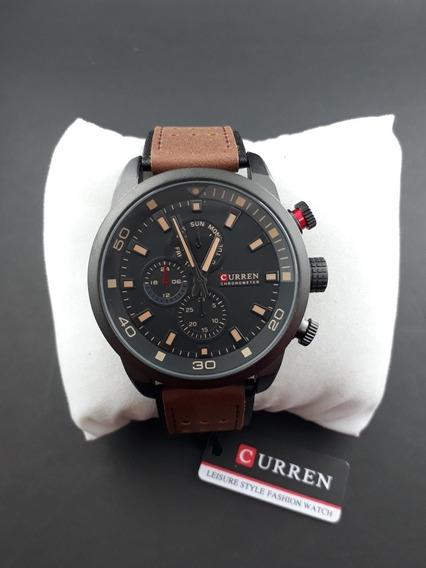 Relógio Masculino Barato Pulseira Couro Top Curren Original