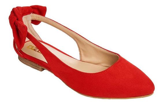 Flats Con Moño Mujer Moda Casual Tipo Gamuza Rojo