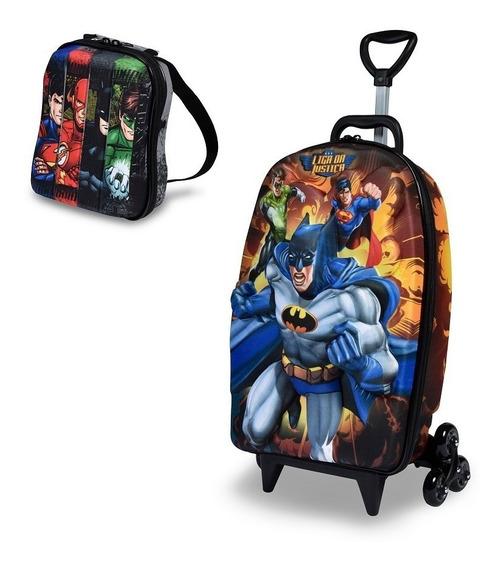Mochila Escolar 3d Rodinhas Maxtoy Liga Da Justiça Batman