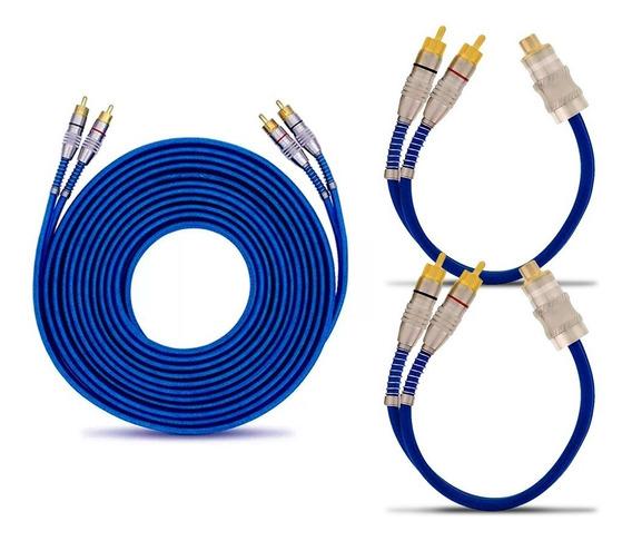 Kit 1 Cabo Rca 5 Metros + 2 Cabos Y Blindado Azul