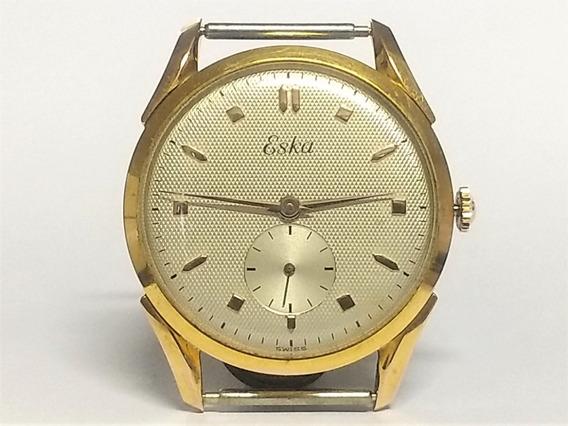 Relógio Pulso Eska 11837 Anos 50 S/ Uso Plaquê Ouro 20 Mc