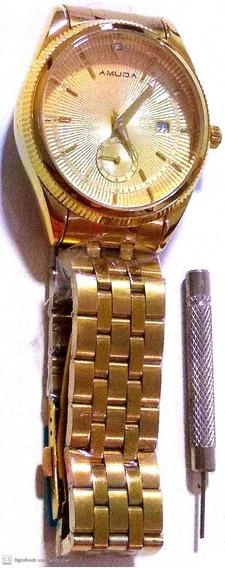 Relógio Feminino Analogico Amuda Aço Dourado