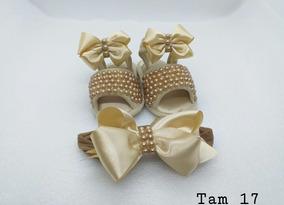 Sandalinha Customizado Dourada Com Faixa De Cabelo Tam 17