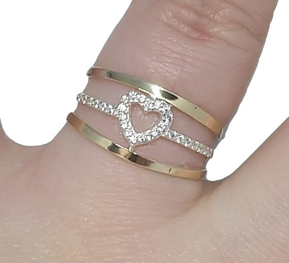 Anel Coração Vazado Prata 950 Com Ouro Feminino C/ Zircônias