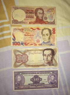 Billetes De Bs. 100 A 10.000 Antiguos Coleccion. Combo 5