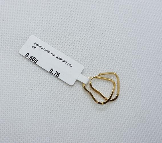 Brinco Em Ouro 18k 750 Fio De Coração 0,60g Pequeno
