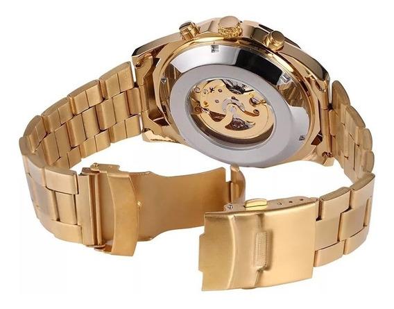 Relógio Masculino Winner Mecânico Automático Dourado Elegante A Prova D