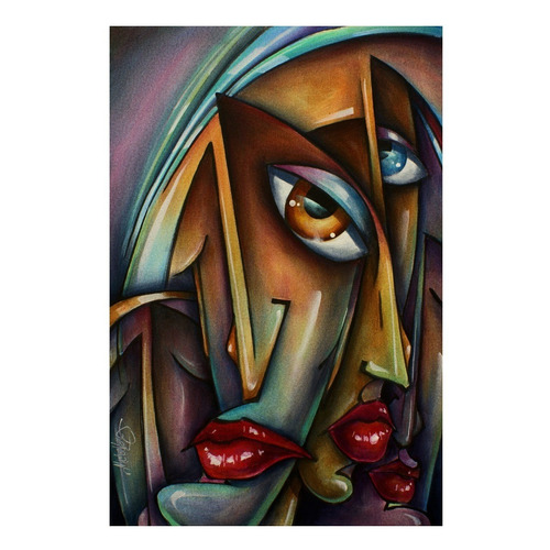 Poster 55x90cm Arte Abstrata Decorar Sala - Obra Faces #1