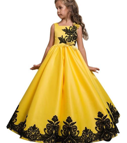 Vestido Princesa Niña Fiesta Amarillo Brilloso Encaje Negro