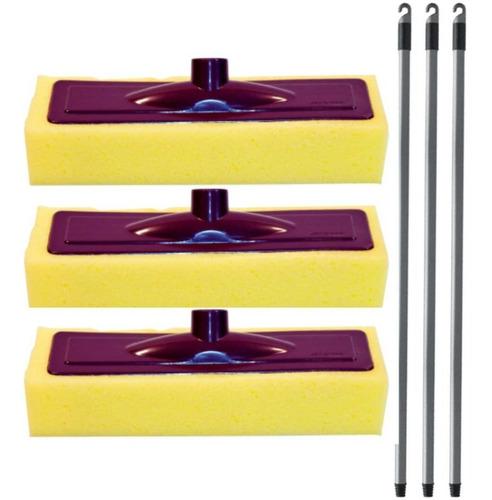 Imagem 1 de 8 de Kit 3 Esponja Passa Cera + Cabo 1,2m - 3 Esponjas E 3 Cabos