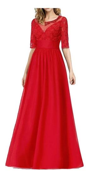 Vestido De Noche Rojo Elegante/ Fiesta/ Gala/ Boda
