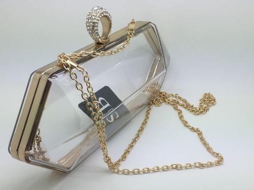 Bolsa De Festa Clutch Em Acrílico Modelo Diamante