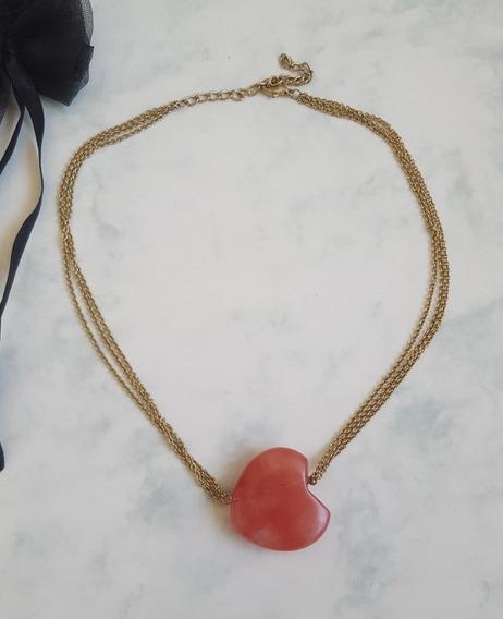 Collar De Cadenas Con Dije Piedra Corazón