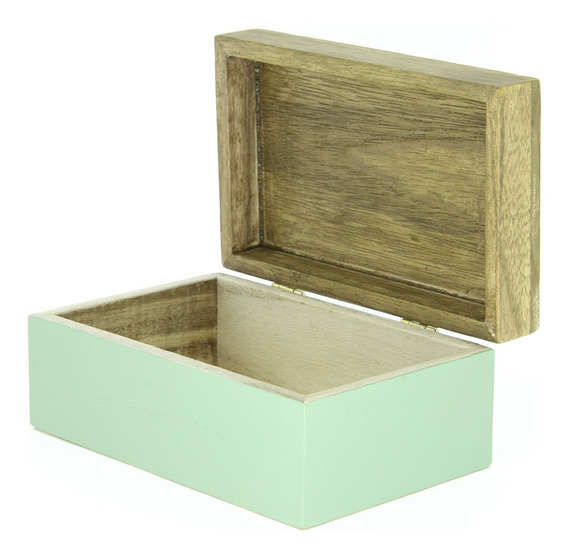 Porta Jóias Mini Baú Caixa Decorativa De Madeira Verde + Nfe