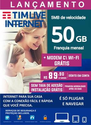 Tim Live Internet 50 Gb + Modem Wi-fi 4g Com Frete Grátis