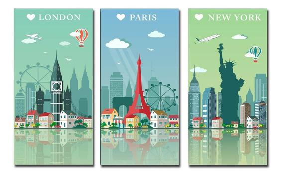 Tríptico Ciudades Canvas Xl 60x90! Calidad Hd! Envio Gratis
