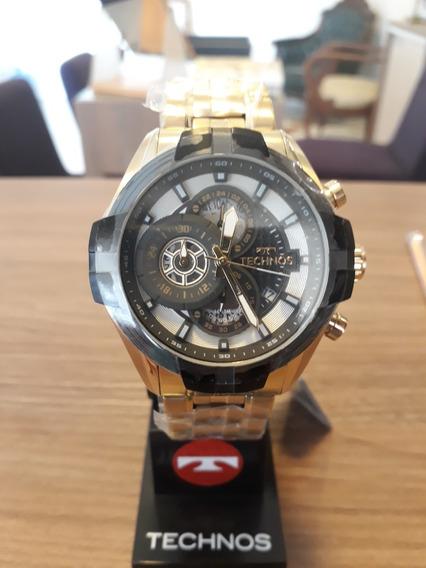 Relógio Masculino Technos Dourado Chrono