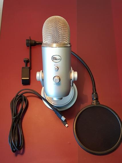 Microfone Condensador Usb Blue Yeti Prateado