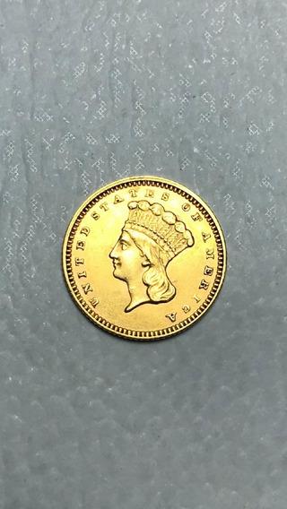 Moeda Indian Princess Head 1874 - Large Head - Tipo 3 Ouro