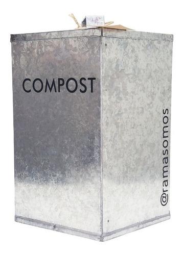 Imagen 1 de 4 de Tacho De Zinc 10l Para Orgánicos Del Compost Rama Somos