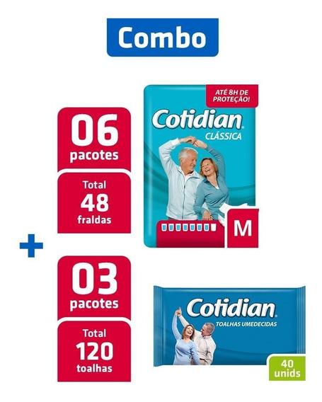Combo 6 Pacotes Fralda Cotidian M + 3 Pcts Toalha Umedecida