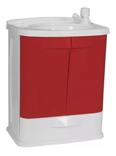 Gabinete Plástico Banheiro Gab Branco / Vermelho Fit Astra
