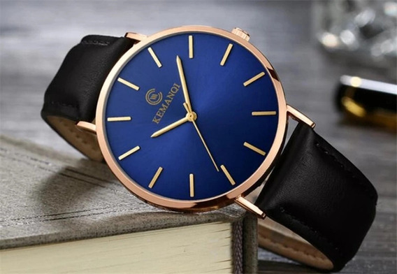 Reloj Hombre Azul Cuarzo Correa Piel Negro.
