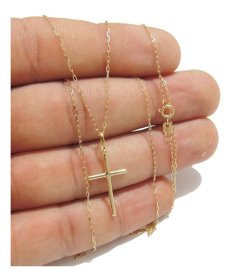 Corrente Cadeado Masculina Pingente Crucifixo Ouro 18k 750