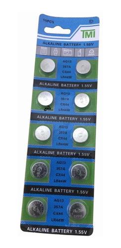 Blister De 10 Pilas Baterias Lr44 Lr44w Lr 44 L1154 Emn