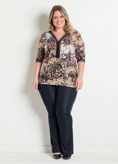 Roupa Social Gordinha Plus Size Da Moda Blusa + Calça Top