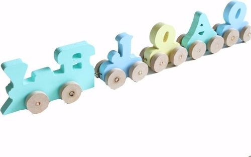 Trenzinho Personalizado Brinquedo Educativo Mdf Madeira