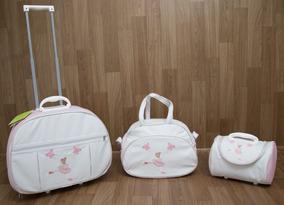 Kit Mala Maternidade 3 Pç Bailairina Branca Com Rosa