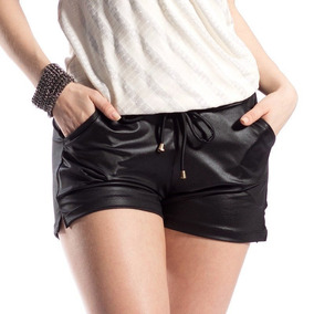 3 Short Feminino Cintura Alta Couro Fake Tecido Cirre