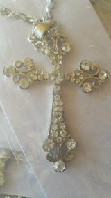 Cordão + Pingente Crucifixo Com Strass
