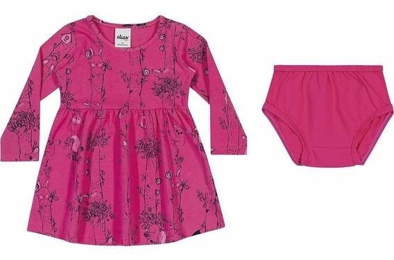 Vestido Infantil Manga Longa C/ Calcinha Elian 01 A 03 Anos