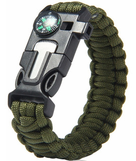 Pedernal Pulsera Tactica Supervivencia Paracord Verde D3045