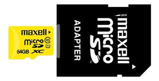 Memoria Micro Sd 64gb Maxell Clase 10 Celular Tablet Camaras