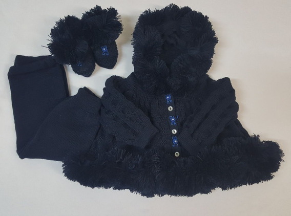 Conj. Eskimó ( Casaco+calça+pantufa)tricot Bebê Azul Marinho
