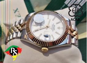 Relógio Datejust 41mm Jubileu Branco Cravejad Misto Dourado