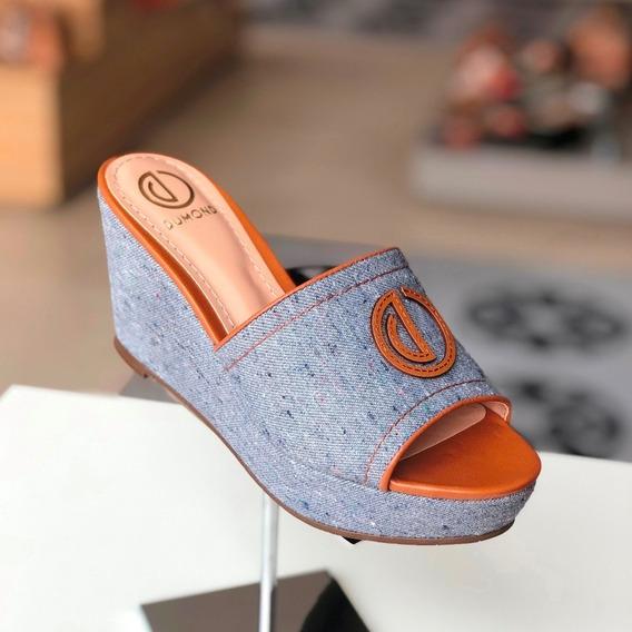 Tamanco Dumond Azul Jeans Canela - Coleção 20 - Loja Berti M