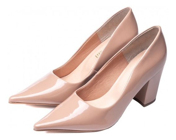 Sapato Scarpin Feminino Verniz Bege Nude Salto Grosso