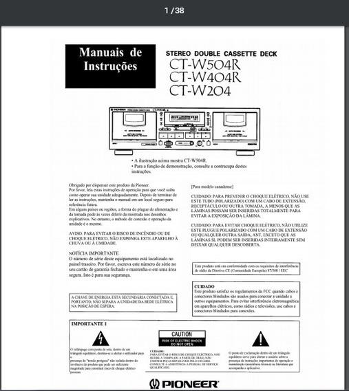 Manual Em Português Pioneer Tape Duplo Deck Ct-w504r