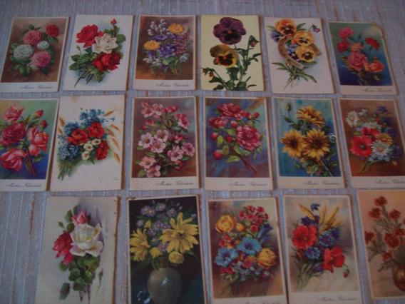Lote De 17 Hermosas Y Antiguas Postales Motivos Florales