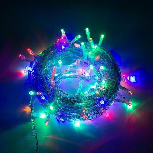 Imagen 1 de 3 de Serie Luces Navideña Multicolor 10m 100 Focos Led Linea Fija