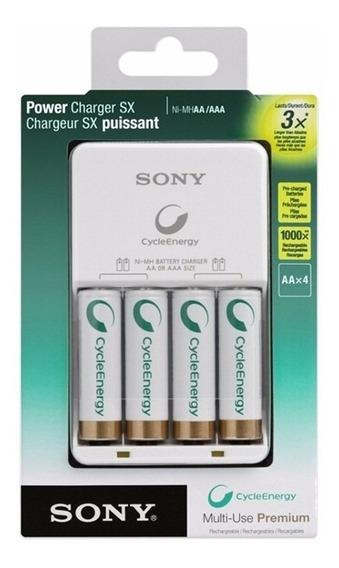 Carregador De Pilhas Sony C/ 4 Pilhas Aa Original