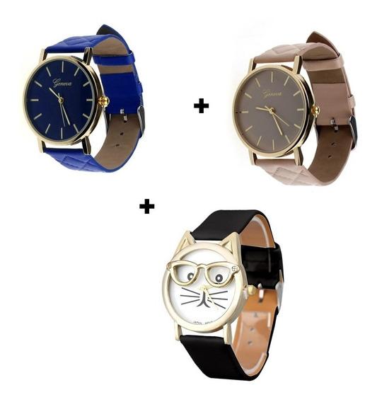 Kit Três Relógios Femininos Gatinho De Óculos + Social Top